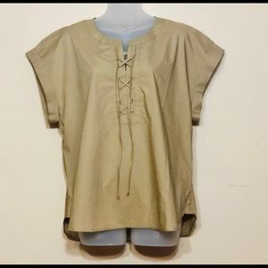 J.Crew lace up popover top blouse G922, si…